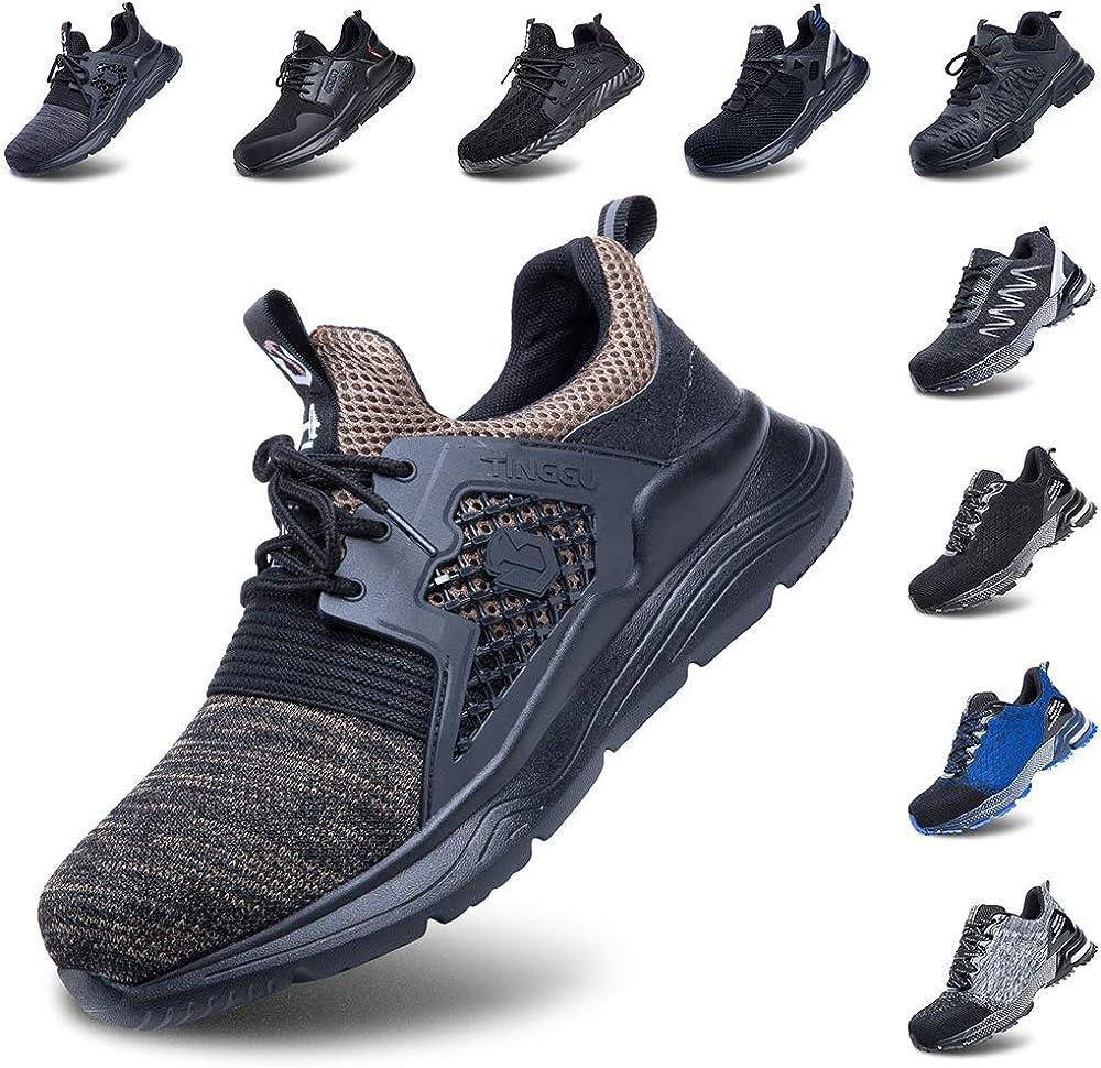 Zapatos de Seguridad Hombre Mujer Zapatillas de Trabajo con Punta de Acero Ligeros Calzado de Industrial y Deportivos Negro Azul Gris N/úmero 36-50 EU