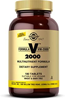 Solgar Formula VM-2000 (Multinutrient System), 180 Tablets - Premium Quality Multiple - Contains Zinc - Supports A Healthy...