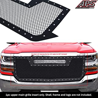 APS Compatible with 2016-2018 Chevy Silverado 1500 Stainless Steel Black 1.8 mm Wire Rivets Stud Mesh with 20inch LED Lights Openning Grille Insert
