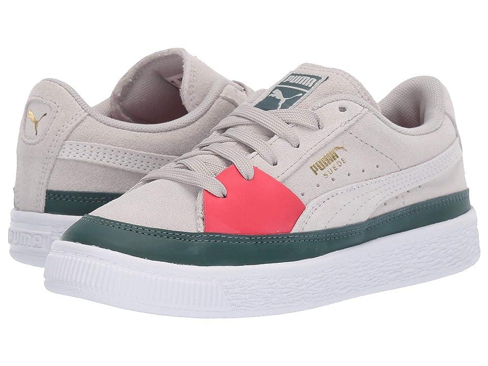 Puma Kids Suede Skate (Little Kid) (Gray Violet/Hibiscus/Ponderosa Pine) Boys Shoes