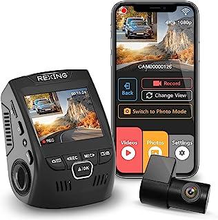REXING V1P MAX 4K UHD Dual Channel traço CAM, 3840x2160 Frente + 1080p Traseira, WiFi GPS do carro do traço Camera w / Nig...