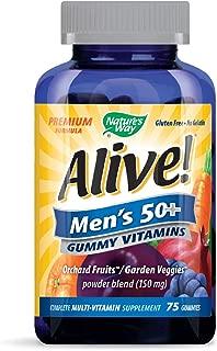 Nature's Way Alive! Men's 50+ Premium Gummy Multivitamin, Fruit and Veggie Blend (150mg per serving), Full B Vitamin Complex, Gluten Free, Made with Pectin, 75 Gummies
