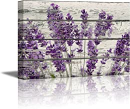 wall26 Canvas Prints Wall Art - Retro Style Purple Flowers on Vintage Wood Background Rustic Home Decoration - 12