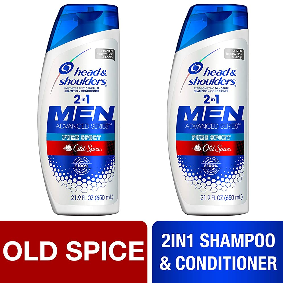 Head and Shoulders Shampoo and Conditioner 2 in 1, Anti Dandruff Treatment, Old Spice Pure Sport for Men, 21.9 fl oz, Twin Pack
