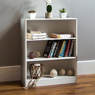Vida Designs Cambridge 3 Tier Low Bookcase, White Wooden Shelving Display Storage Unit Office Living Room Furniture