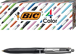 BIC 4-Color Pro Ballpoint Pen, Black Barrel, Medium Point (1.0mm), Assorted Inks, 3-Count