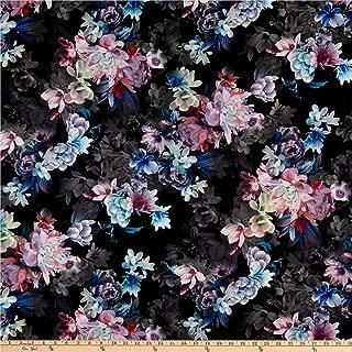 Telio Kimono Poly Georgette Floral Print Mauve Black, Fabric by the Yard