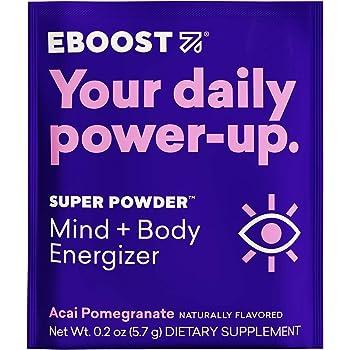 EBOOST Super Powder Energy Drink Mix - 20 Packets - Acai Pomegranate - an Effervescent Blend of Vitamin C, B12, Zinc, Electrolytes, and Natural Caffeine Plus Hydration - Pre-Workout Powder - No Sugar