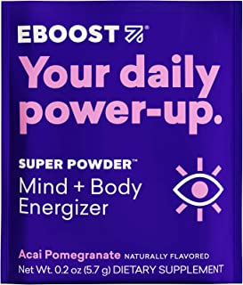 EBOOST Super Powder Energy Drink Mix - 20 Packets - Acai Pomegranate - an Effervescent Blend of Vitamin C, B12, Zinc, Elec...