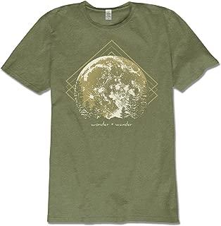 Soul Flower Men's Wonder and Wander Hemp Short Sleeve T-Shirt, Olive Green Crew Neck Tee for Men and Women