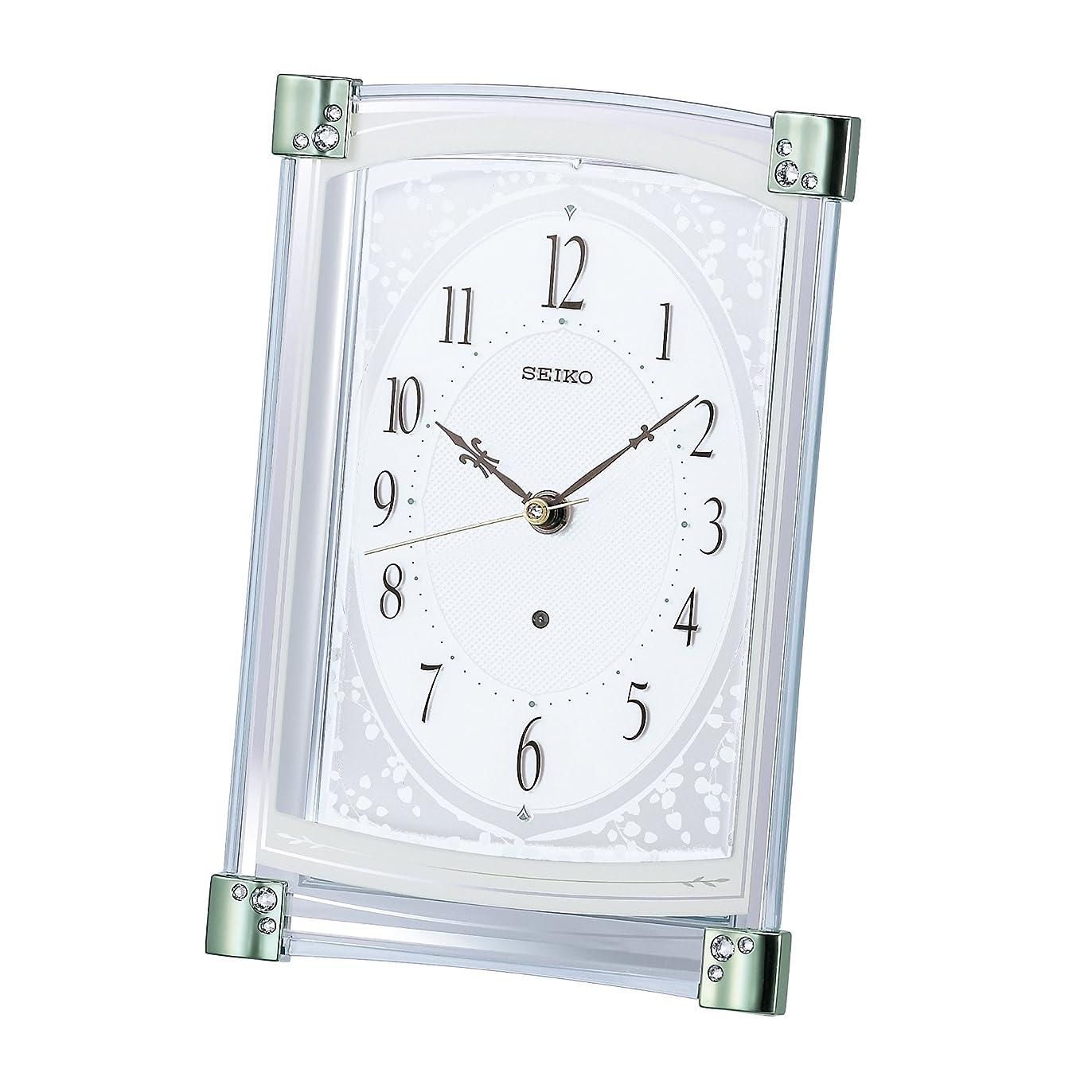 無線メイド田舎者SEIKO CLOCK (セイコークロック) 置き時計 電波 アナログ 薄緑 BZ360M