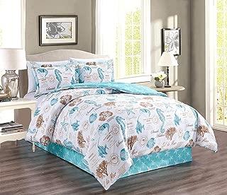 4-Piece Fine Printed Beach Design Bedding King Size Comforter Set. Sea Shells, Sea Horse, Starfish etc. (Aqua Blue, Sand, White)