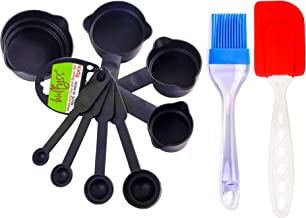 Bulfyss Popular Combo - Food Grade 8Pcs Black Measuring Cups and Spoons Set, Silicone Series Spatula and Brush Set (Made in India)