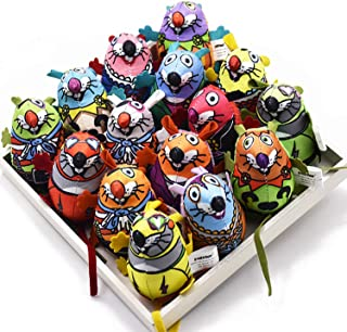 Kingtree Catnip Cat Toys, 15-Pack Canvas Mice Squeaky Cat Toys Colorful Sound Squeaker Stuffed Toy for Kitten Biting Chewing, Cute Fat Mouse Pet Toys Set