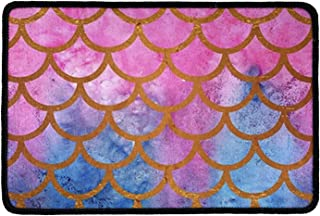 Pensura Pink Scales Pattern with Doormat Home Decor Welcome Indoor Outdoor Entrance Bathroom Floor Mats 23.6x15.7 Inch