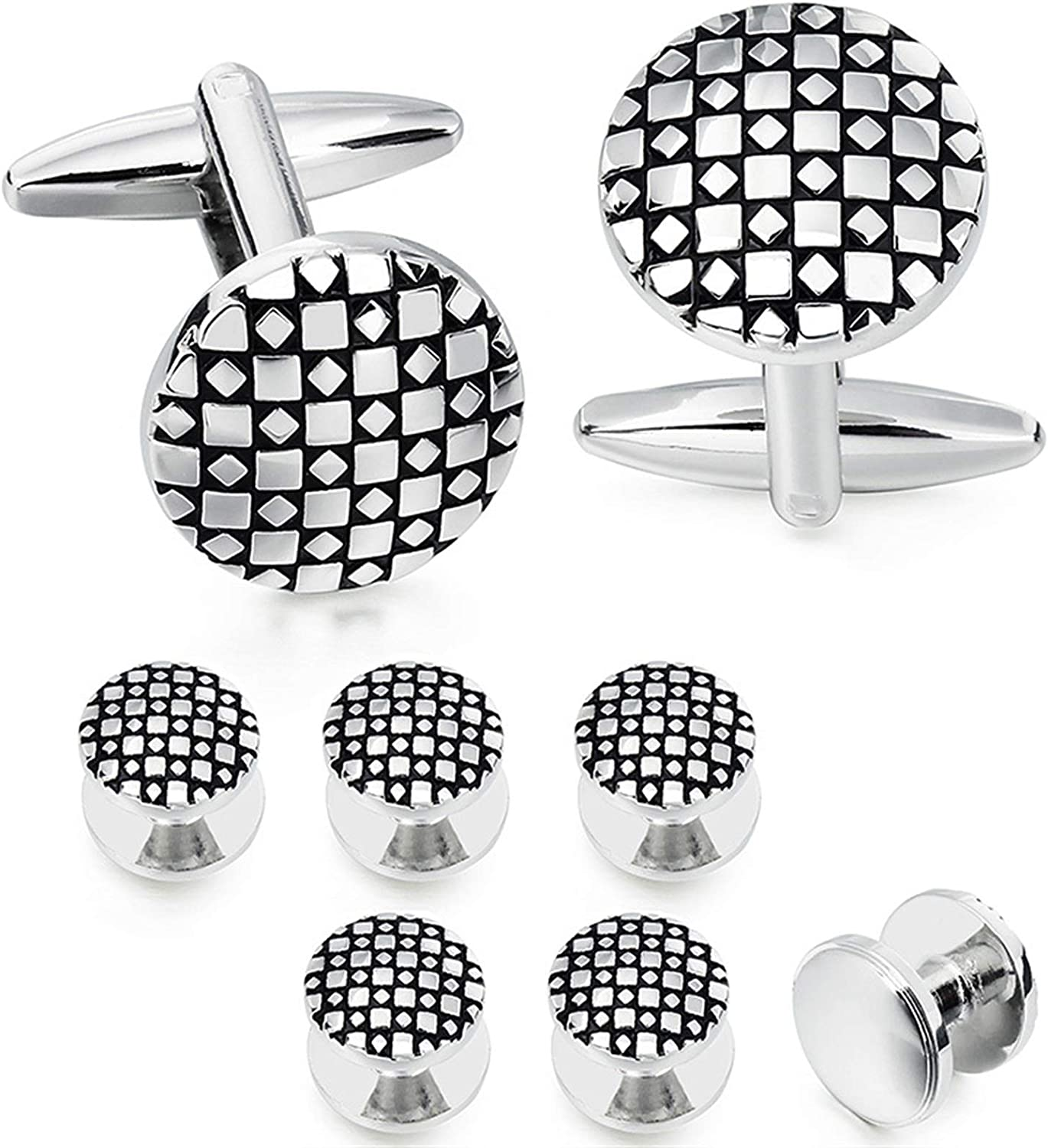 YNX MLKCL Men's Classic Cufflinks (Metal Color : Round with 6 Studs)