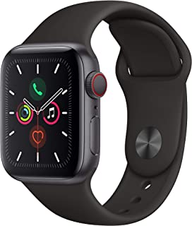 Apple Watch Series 5 (GPS + Cellular, 44MM) - Space Gray Aluminum Case with Black Sport Band...