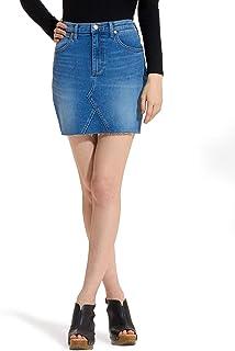 Wrangler Women's High Rise Raw-Hem Stretch Denim Mini Skirt