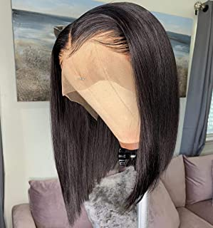 13x6 Short Bob Lace Front Wigs Human Hair For Women Bleached Knots Full End Brazilian Human Hair Wigs density 150% Pre-Plucked (10inch)