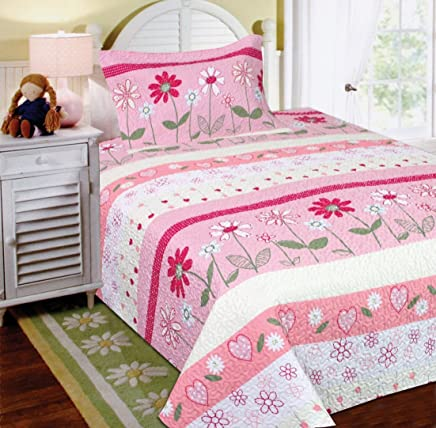Fancy Collection 2pc Twin Size Bedspread Set Flowers Hearts Pink White Green New