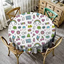 Good Vibes Picnic Cloth Fun Pattern Funny Cute Characters Sweets Hearts Cats Rainbows Ghosts Kids Round Tablecloth Multicolor Diameter 50