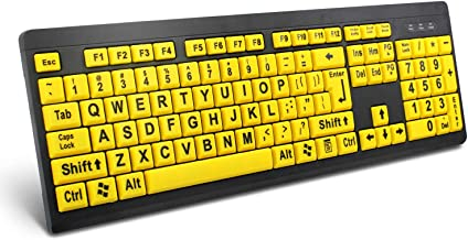 BOOGIIO Large Print Computer Keyboard, Wired USB High Contrast Keyboard with Oversized..