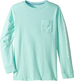 Long Sleeve Two-Tone Village Whale Pocket T-Shirt (Toddler/Little Kids/Big Kids)