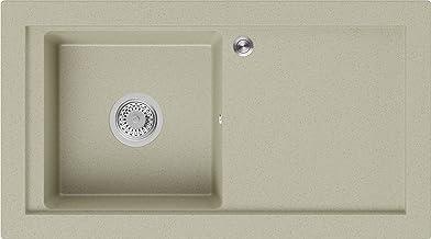 Granieten Gootsteen Beige + Pop-Up Sifon, Voor Keukenkasten vanaf 60 cm, Grootte 89 x 49,5 cm, Gootsteen Praag van Primagran