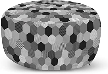 Ambesonne Charcoal Ottoman Pouf, Greyscale Geometric Pattern with Striped Hexagons Grid Illustration, Decorative Soft Foot Re