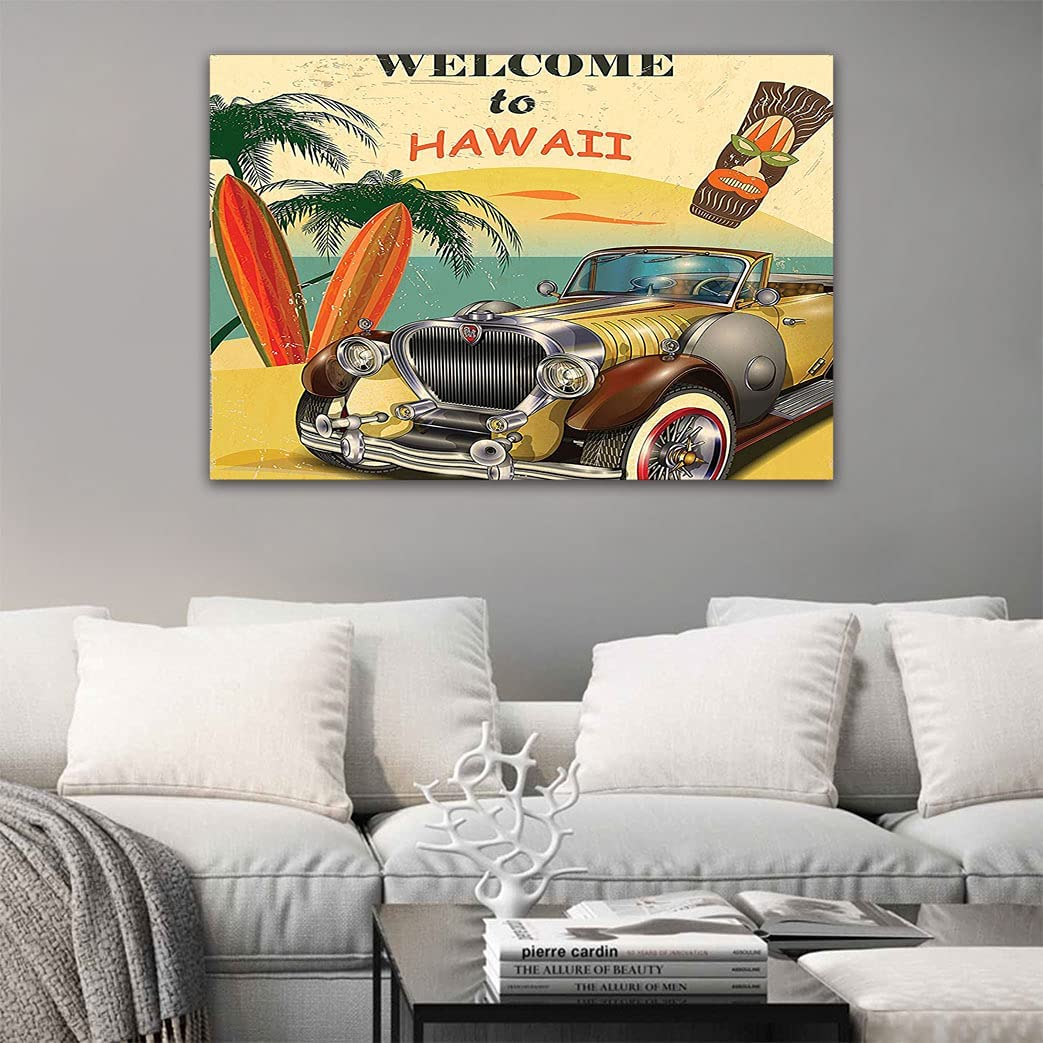 1960s Decor Self-Adhesive Oil Painting to Retro Max 54% OFF Welcome A Now on sale Hawaii