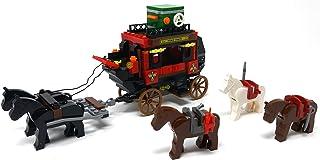 Brigamo Briques de construction carrosse western avec chevaux et figurines de cowboys