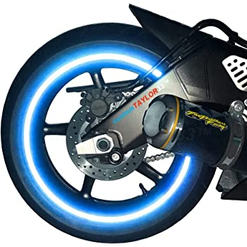 """customTAYLOR33 (All Vehicles Blue High Intensity Grade Reflective Copyrighted Safety Rim Tapes (Must Select Your Rim Size), 17"""" (Rim Size for Most SportsBikes)"""