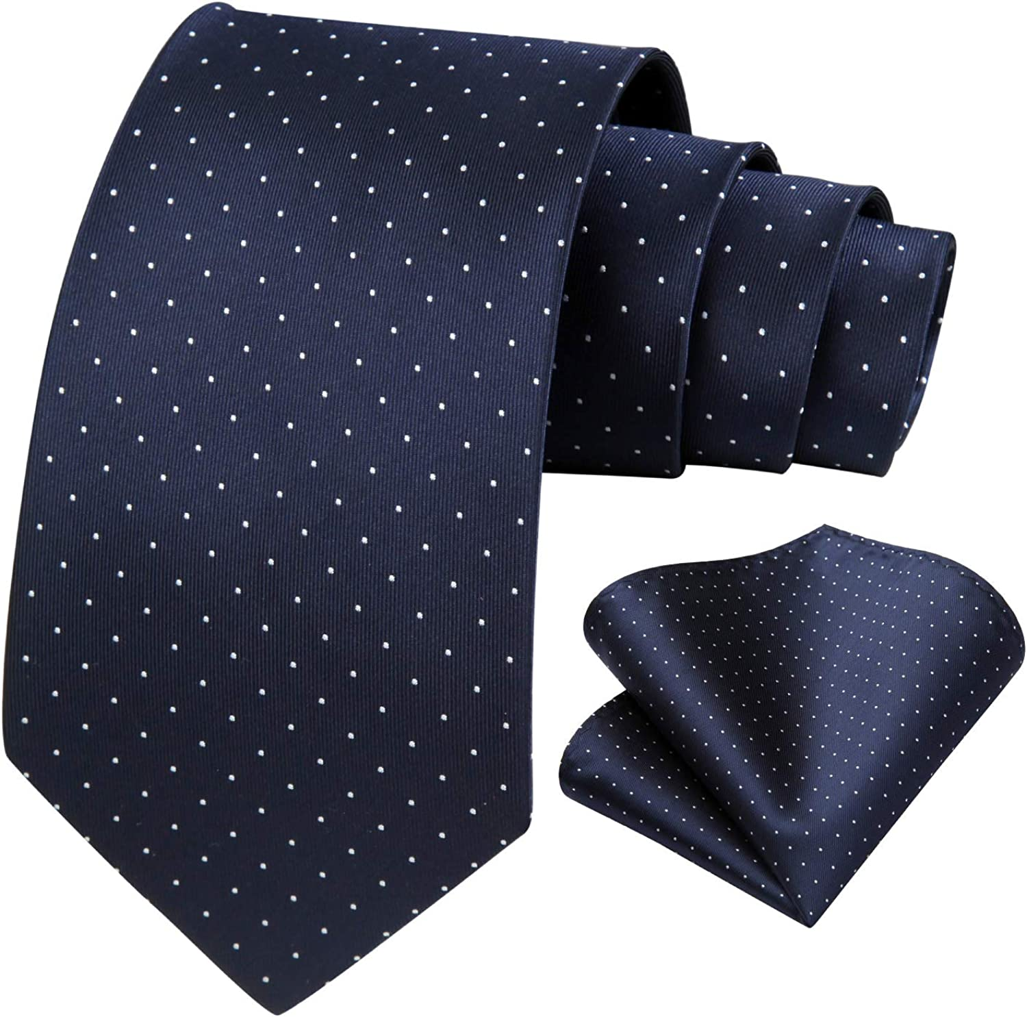 BIYINI Polka Dot Ties for Men with Pocket Square Silk Classic Neck Tie Handkerchief Set for Wedding Party