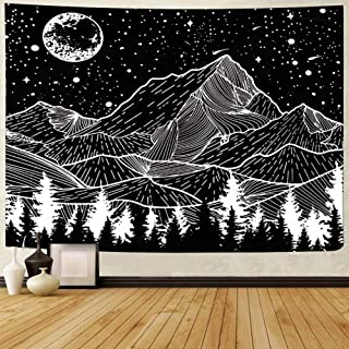 Mountain Tapestry Moon Forest - Black and White Tapestry for Men, Cestbin Tree Starry Night Sky Star Tapestries Wall Hanging for Living Room Bedroom Dorm (Mountain, 59.1 x 78.8)