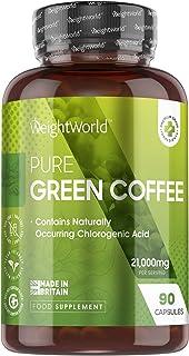 Café Verde Puro, Potente Fórmula 7000mg 90 Cápsulas - Suplemento Dietético Green Coffee 100% Natural, Fuente de Cafeína Pu...