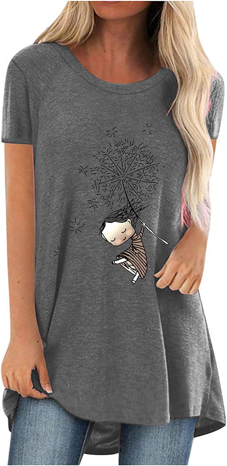 Tunic Tops for Womens to Wear with Leggings Casual Short Sleeve Loose Tee Tops Printing Tunic Blouse