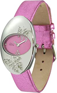 Moog Paris Butterflies Women's Watch with Gray/Green/Fuschia/Gold/White/Red Dial, Gray/Green/Purple/Black/Gold/Silver/Black/Pink/Red Genuine Leather Strap & Swarovski Elements