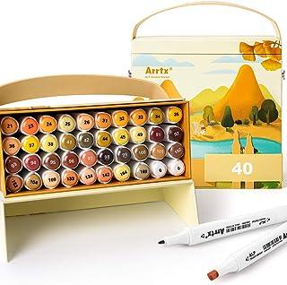 Arrtx ALP 40 Ardor Colors Alcohol Marker Set, Dual Tips Art Permanent Marker for Painting, Sketching, Cartoon Coloring, Il...