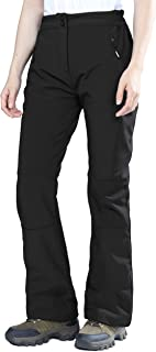 Women's Sleek Waterproof Softshell Fleece Lined Ski Snow Insulated High Rise Pants with Bottom Zipper
