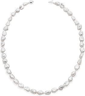 Collar de Perlas de Mujer Cultivadas de Agua Dulce Barrocas Keshi de 45 cm de Largo Perlas Barrocas Keshi de 7-9 y 9-10 mm con Nudo Entre Cada Perla.