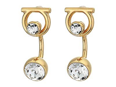 Salvatore Ferragamo Gancio Strass Earrings (Oro/Strass) Earring
