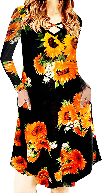 Wuztai Womens Dresses 2021 Floral Printed V Neck Long Sleeve Bandage Midi Dress with Pockets,Casual Loose Flowy Swing Dress