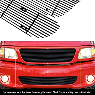 APS Compatible with 1999-2003 Ford F-150 Lightning Black Billet Grille Grill Insert Combo F61200H