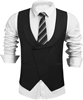 COOFANDY Mens Double Breasted Suit Vest,Slim Fit Business Formal Dress Waistcoat