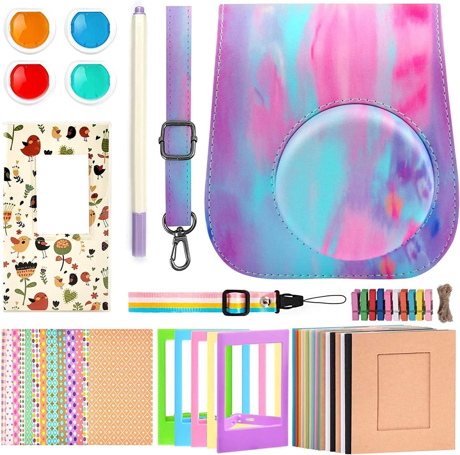 Cámara instantánea compatible con Instax Mini 11 cámaras instantáneas son carcasa, correa, filtros, álbum, marco de película, adhesivo de marco, lápiz de metal.