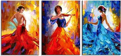 CANVASZON Large Canvas Prints Dancer Paintings Beautiful Dancing Woman Figurine Wall Art Sexy Woman Painting 16x24inchx3pcs