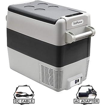 Setpower AJ50 53 Quarts Portable Freezer Fridge 12V Cooler, 0℉-50℉, DC 12/24V, AC 110-240V, Car Fridge Compact Refrigerator, for Truck, Van, RV Road Trip, Outdoor, Camping, Picnic, BBQ, Patio