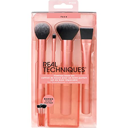 Real Techniques Flawless Base Brush Set With Ultra Plush Custom Cut Synthetic Bristles and Extended Aluminum Ferrules to Build Coverage for Every Makeup Application Need, Pink, 5 Piece