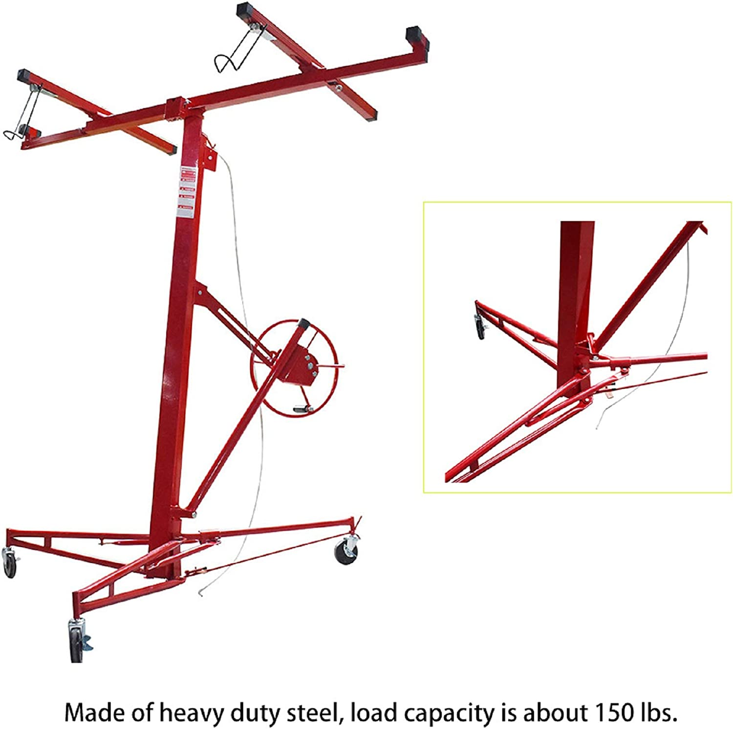 WFLNHB 16FT Drywall Lift Panel Hoist Jack Lifter Jack Rolling Caster Wheel Drywall Lift Construction Tool Red