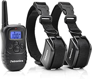 Petronics Rechargeable Shock Training Collar with Remote, Electronic for Large Dog with Static, Vibration, Beep and Light, 330 yd